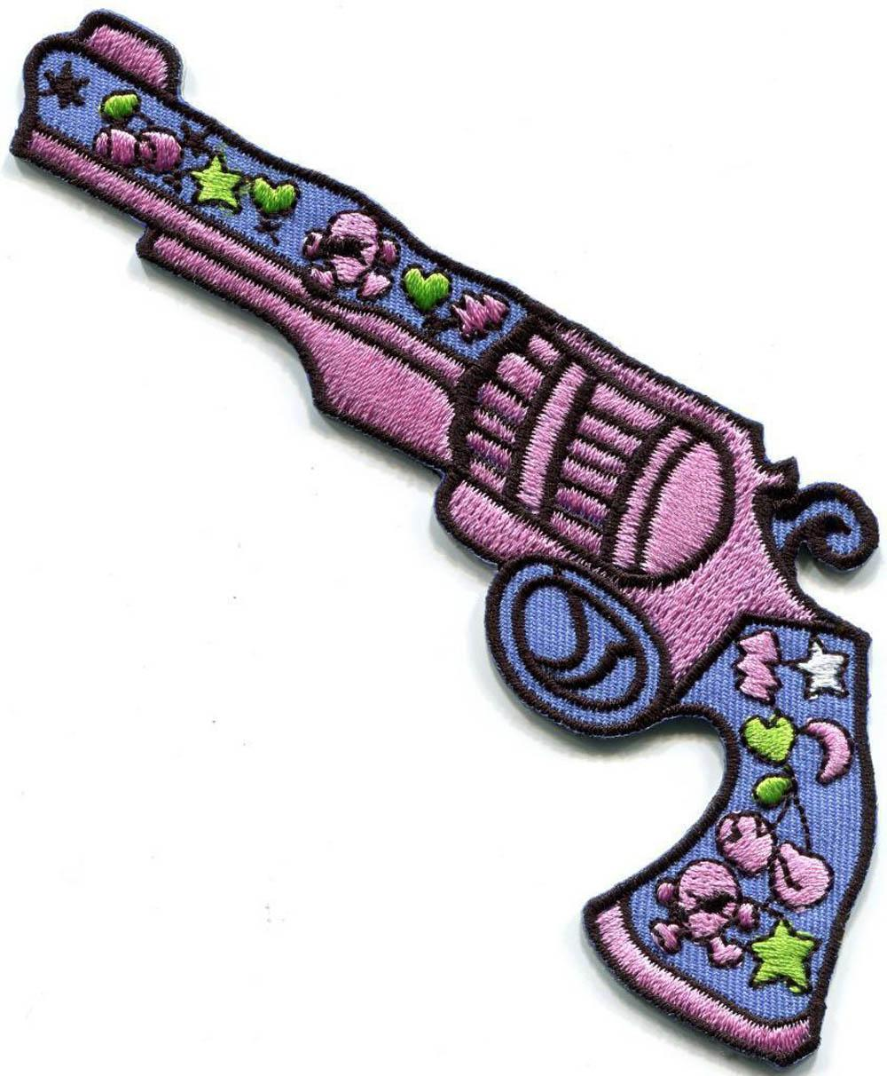 100% embroidery stitches Love Gun flower power hippie embroidered applique iron-on patch new - T170528