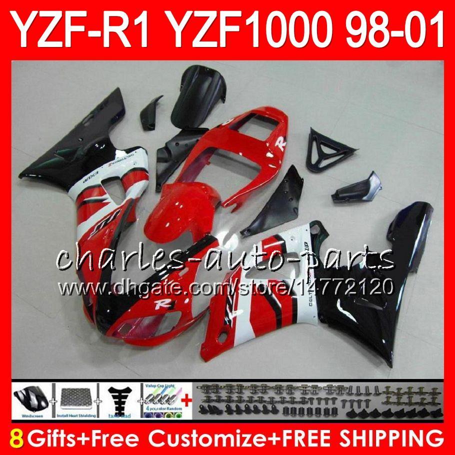 8Gift 23Farbe Körper Für YAMAHA YZF1000 YZFR1 98 99 00 01 YZF-R1000 61HM5 YZF 1000 R 1 YZF-R1 YZF R1 1998 1999 2000 2001 Verkleidung Neu Rot weiß