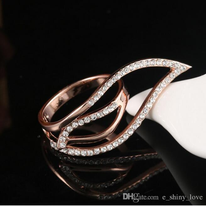 Fashion Rhinestone Scarf Buckle Hollow Rose Gold & Silver Alloy metal Ring Beautiful Jewelry Gift Low Price