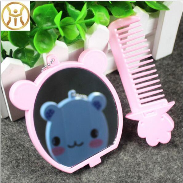 Eco-Friendly Christmas gifts Cute cartoon animal comb + mirror set Makeup Mirrors portable pocket cosmetic mirror FreeShipping 4 colors