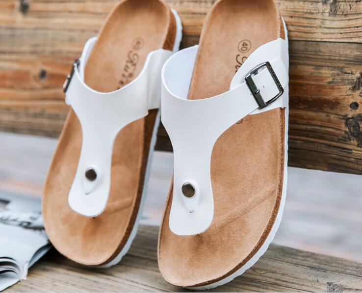 c99de134dc0db New Summer Buckle Cork Slipper Sandals Flats Shoes 2017 Casual Women ...