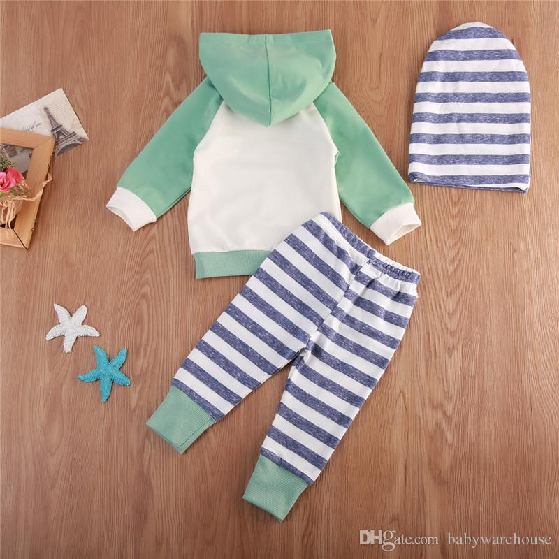Newborn Baby Boys Girls Clothes Long Sleeve Hooded Pullover Tops Stripe Pants Hat/Headband Infant Baby Boy Clothing Set Toddler Outfits