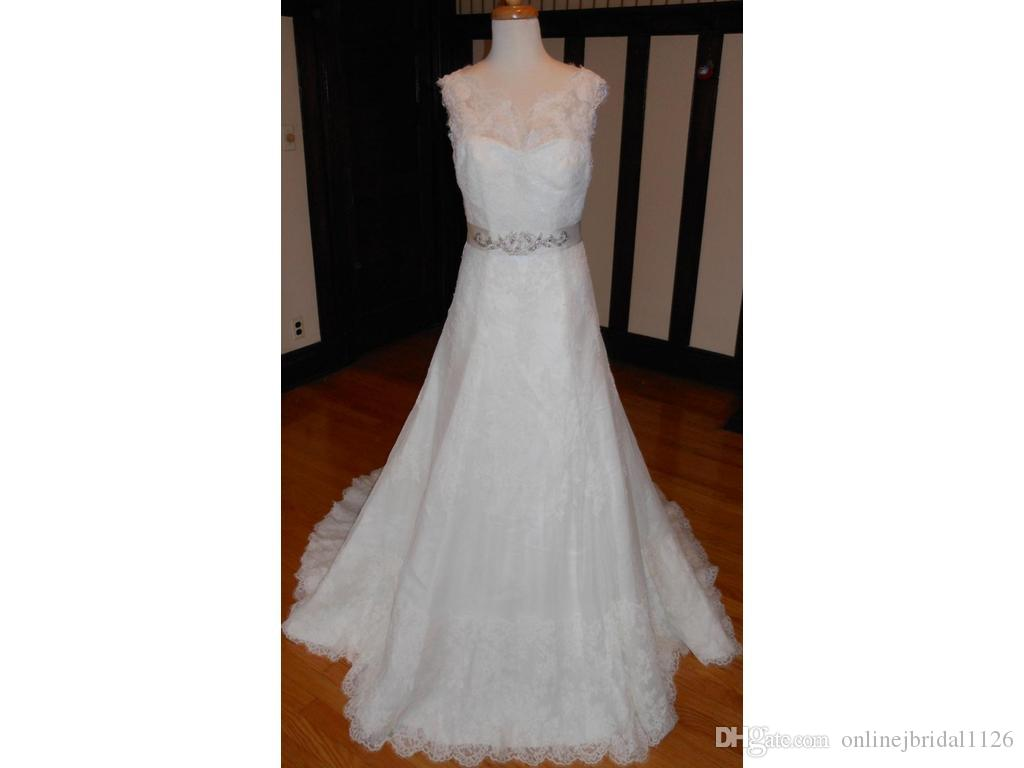 Gorgeous A line Floral Lace Beaded Sash Customized Real Job Photos Sheer Fit and Flare Sleeveless COR-695 Bridal Gown Wedding Dresses
