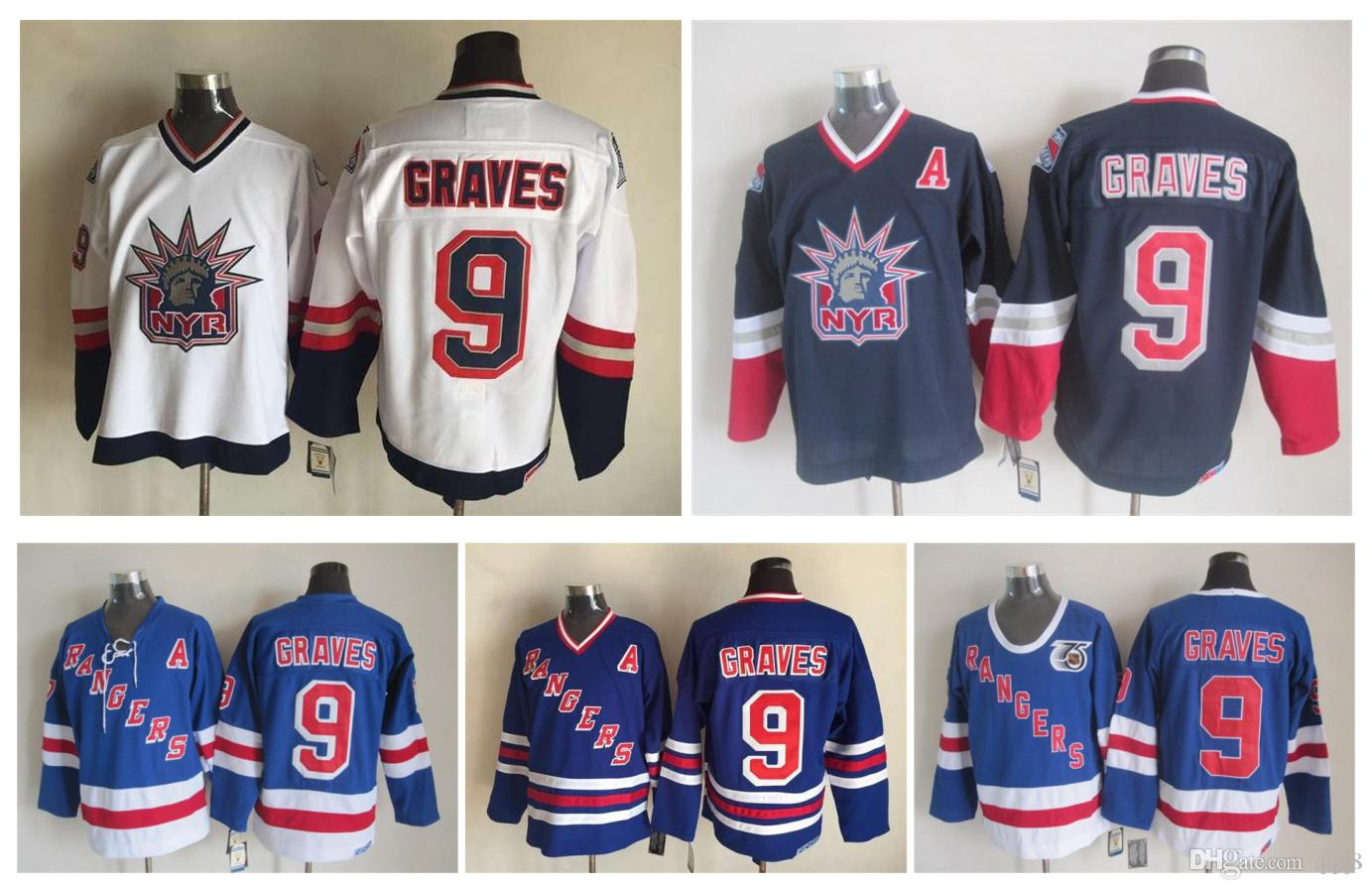 Men New York Rangers Ice Hockey Jerseys 9 Adam Graves 1998 Statue Of Liberty  Retro Vintage CCM Authentic Stitched Jerseys From Qqq8 1a93f7541