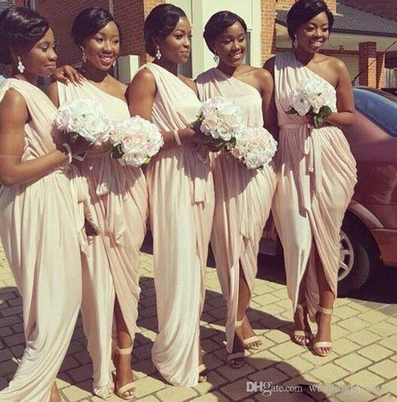 African American Grecian Bridesmaid Dresses 2017 Unique One Shoulder Peach Pink Mermaid Long Formal Dresses for Women With Sash