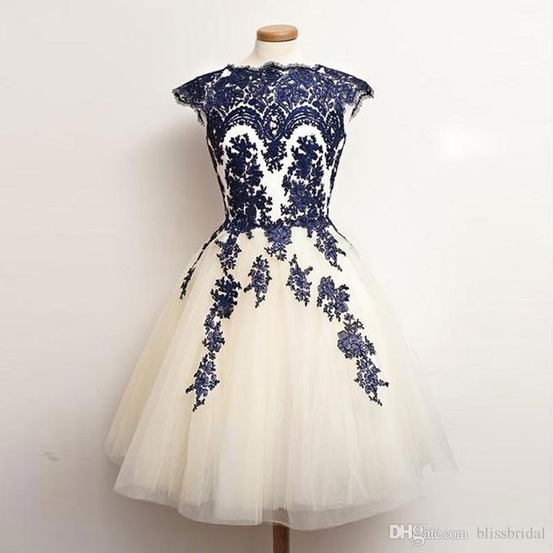ae0a5b79406 Elegant Navy Blue Lace Applique Ball Gown Homecoming Tull Short Prom Dress  Zipper Back Custom Made Bridesmaid Dress Shop Online Dresses Short Formal  Dress ...