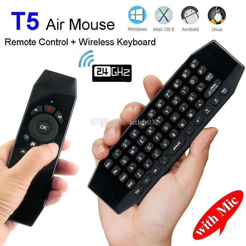 ed84e79bd1f T5 2.4G Wireless Air Mouse With Mic Remote Control Keyboard USB Wireless  Receiver With IR Learning Gaming Pad For Android TV Box H96 X92 T3 Remotely  Connect ...