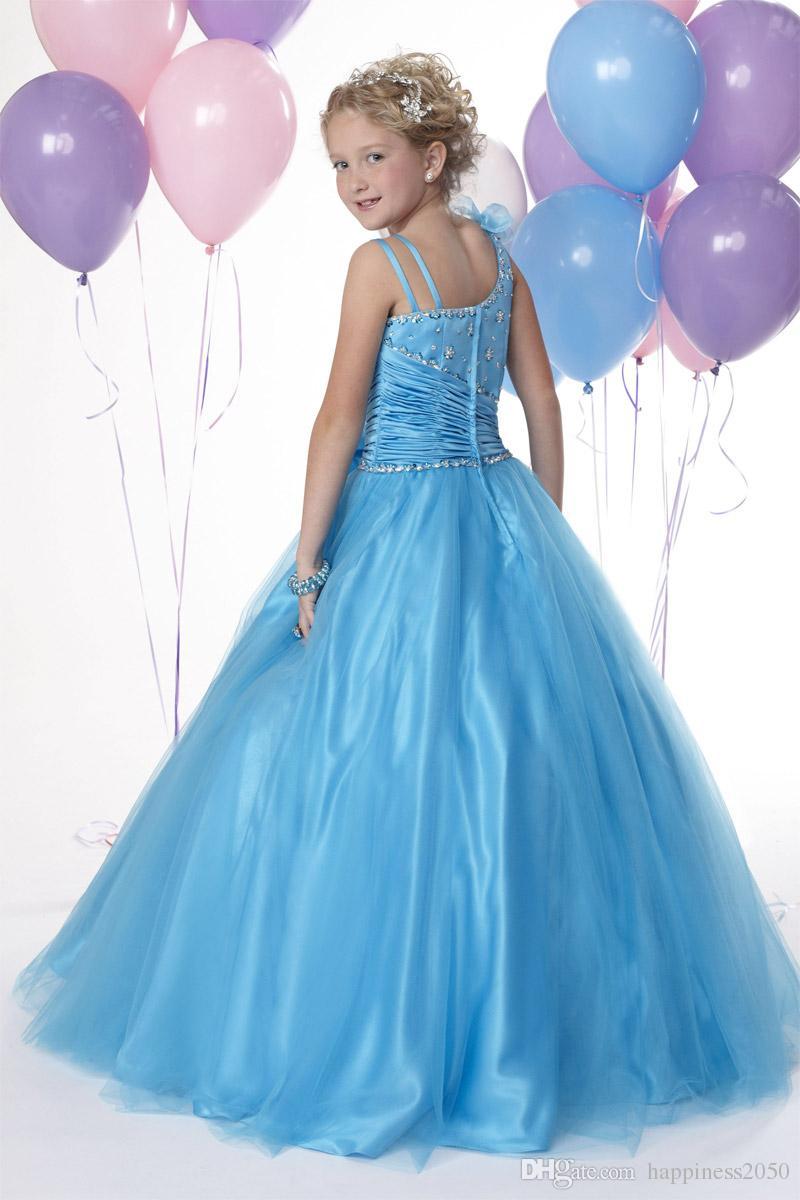 Belle Turquoise Tulle Bow Sangles Perles Robe De Fille De Fleur Princesse Pageant Robes Robes De Fête Sur Mesure Taille 2-14 HF419001