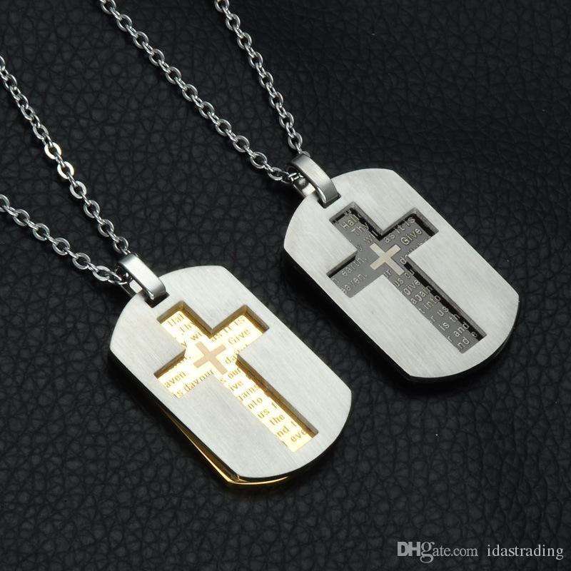 الصليب قلادات المعلقات مجوهرات المسيحية الكتاب المقدس اللوردات الصلاة الكلب الكلمات ذهبي اللون الفولاذ المقاوم للصدأ هدية عيد الميلاد للرجال
