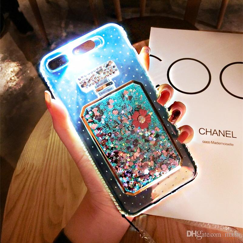 best loved 0a2b1 9dbd1 Perfume Bottle Glitter Quicksand Dynamic Liquid Transparent Led Flash Case  For iPhone 5 5S SE 6 6S 7 Plus VIVO X9 OPPO R9 R9S R11
