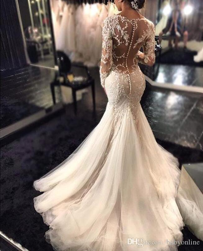 New Gorgeous Lace Mermaid Wedding Dresses Dubai African Arabic Style Petite Long Sleeves Fishtail Custom Made Bridal Gowns with Buttons