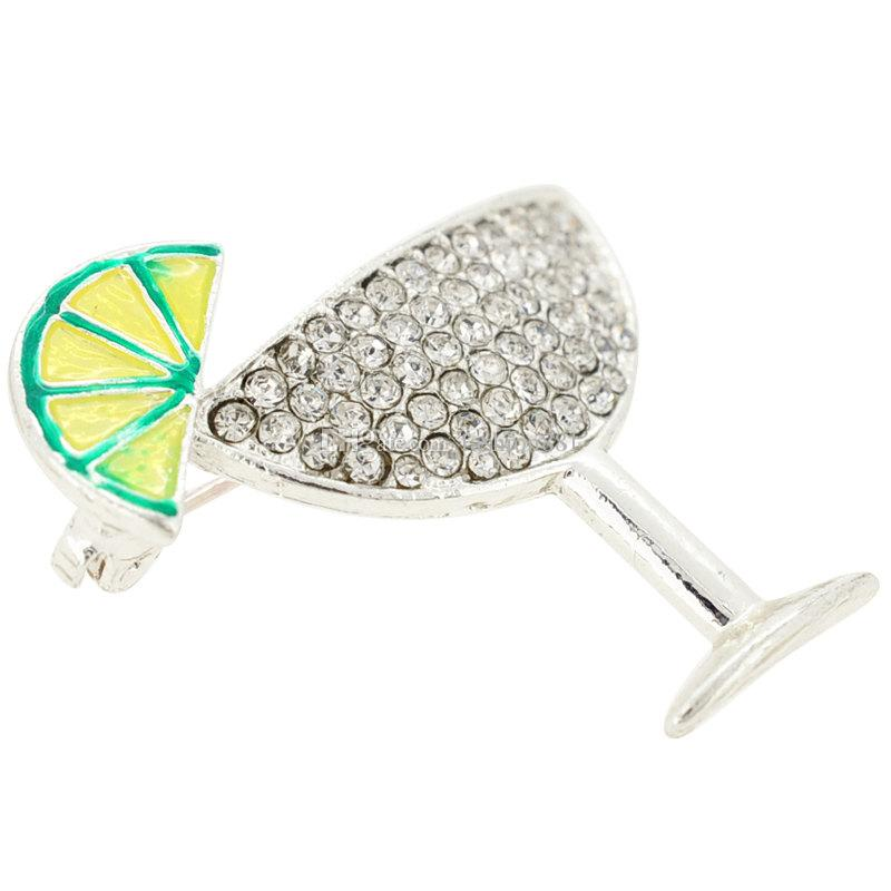 Pendentif broche en verre margarita argent, broche strass de jus de citron