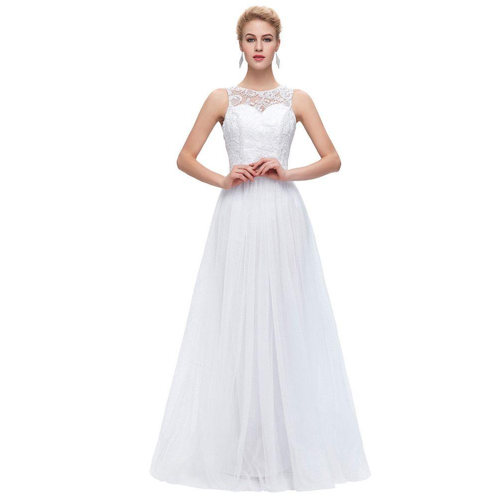 Großhandel Grace Karin Spitze Lange Prom Kleider Weiß Schwarz ...