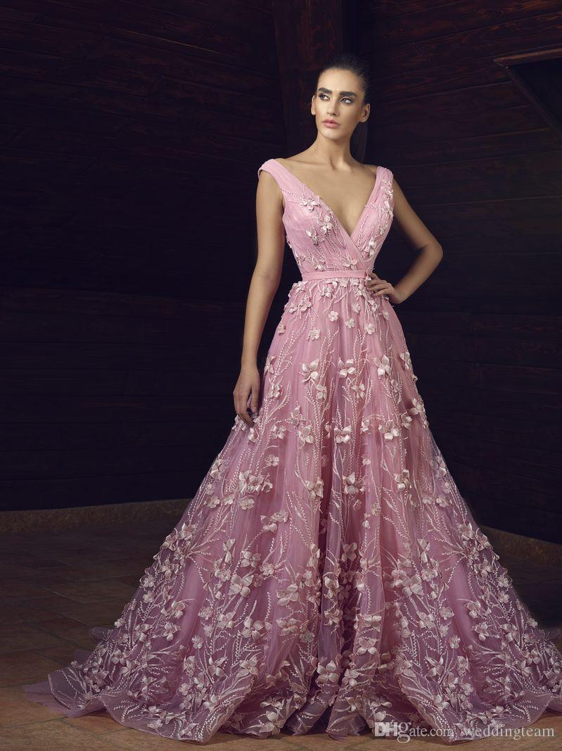 23de993007b Pink 3D Floral Applique Prom Dresses Long V Neck Beaded A Line Evening  Gowns Sweep Train Tulle Custom Made Formal Dress Lime Green Prom Dress Long  Sequin ...