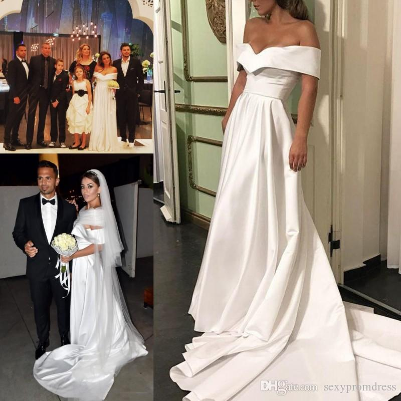 6577be9e96 Simple Design White Off Shoulder Wedding Dresses Court Train Satin A Line  Beach Bridal Gowns Cheap Backless Wedding Vestidos Custom Made Canada 2019  From ...
