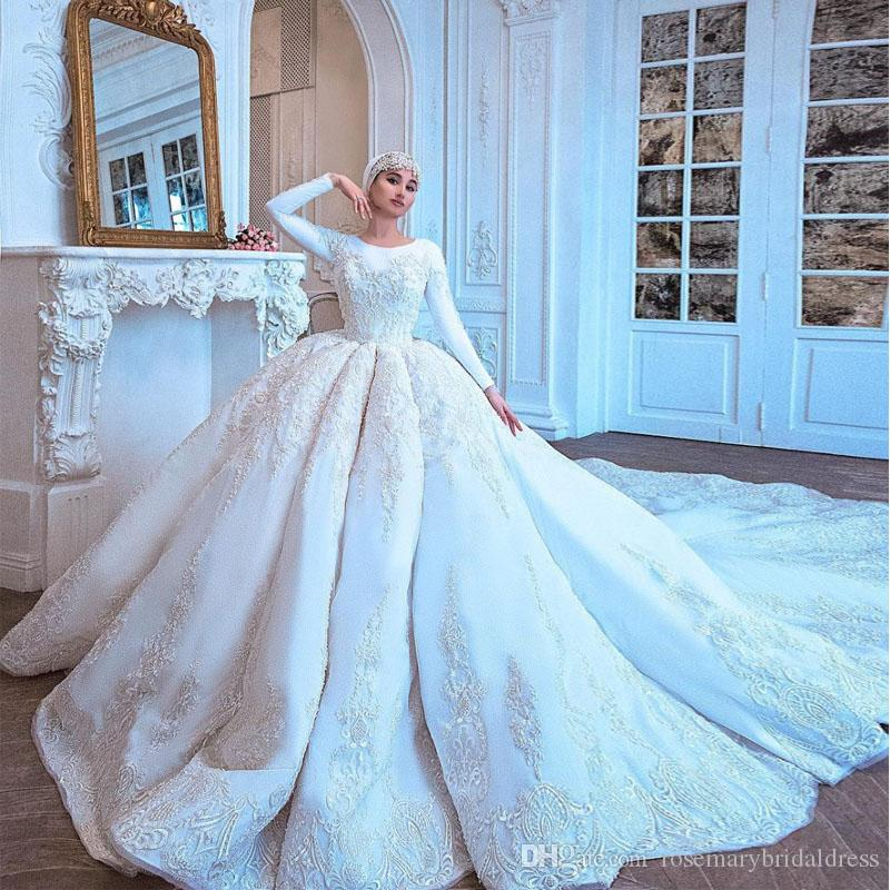 Discount Gorgeous Amazing Long Train Wedding Dresses Long Sleeve ...