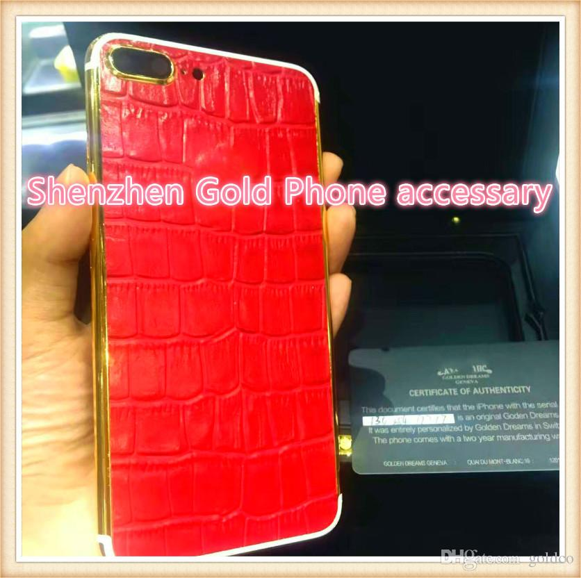 24K Gold Plating real red leather Back Housing Cover Skin Battery Door For iPhone 7 7+ Luxury Limited Edition 24Kt Golden for iphone7