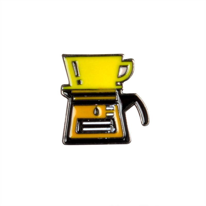Cartone animato Serie caffè Spilla Smalto Pulsante con bottoni Zaino Giacca di jeans Jeans Colletto Perizoma in metallo Monili regalo in metallo