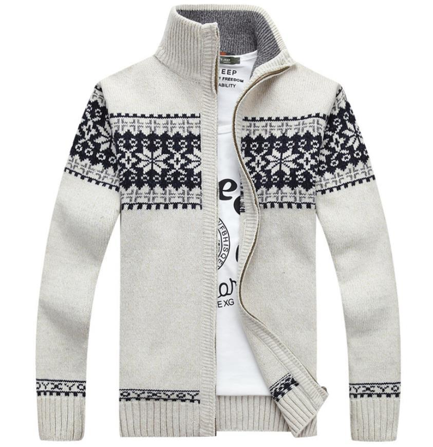 christmas sweater winter new pullover snowflake pattern men s leisure cardigan fashion collar male thickening wool jacket winter jackets brands denim - Christmas Jackets