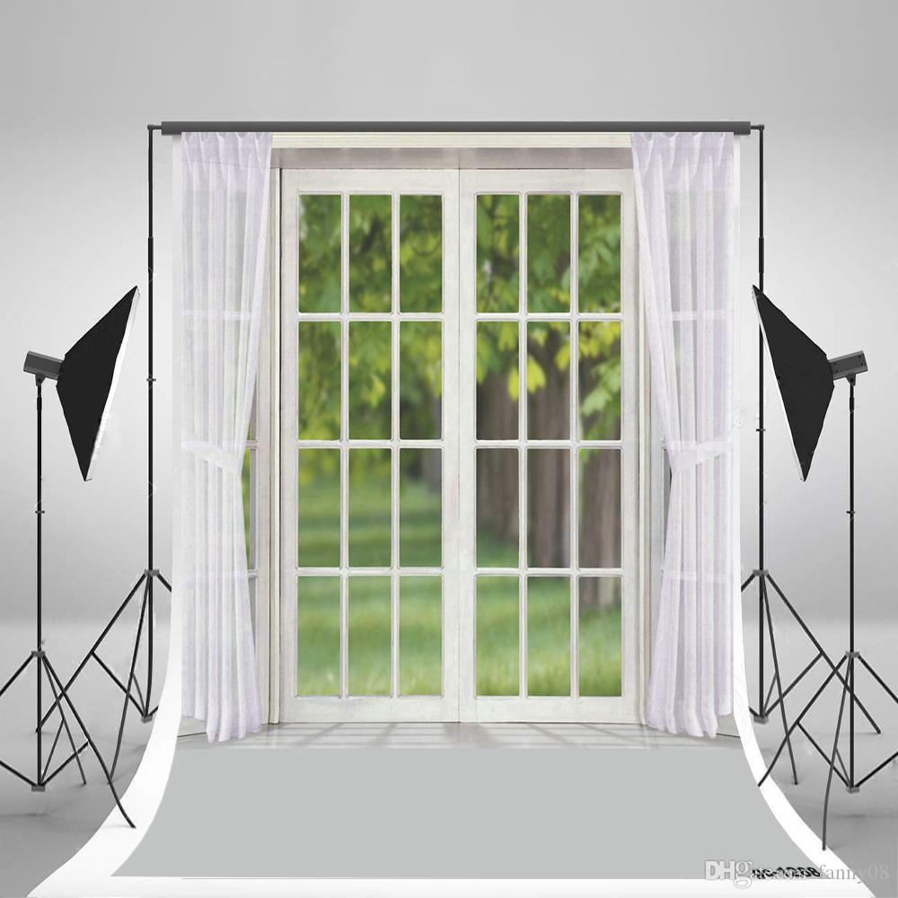 Indoor window photography backdrop white curtain photo background for wedding studio photographic window photo backdrops children background wood floor