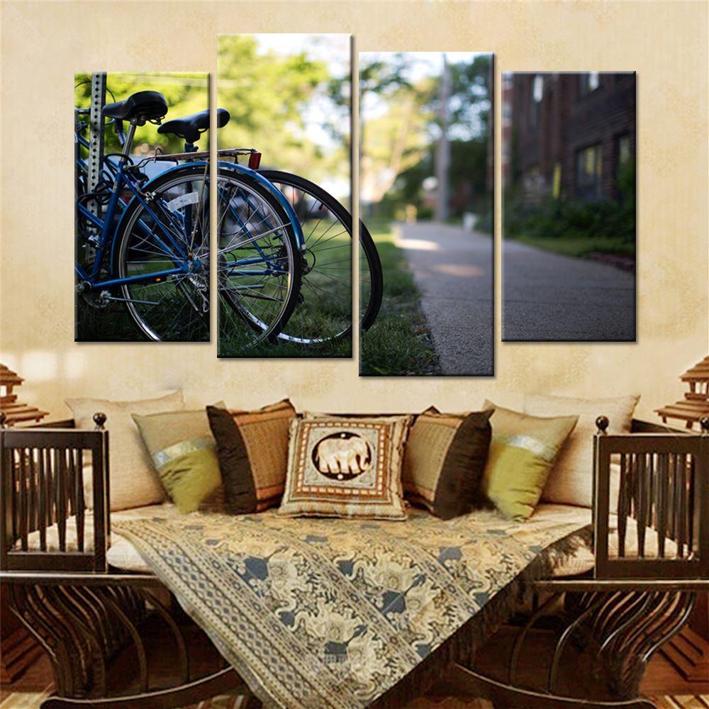 Best Canvas Painting Vintage Home Decor Print Retro Bike Canvas Oil ...