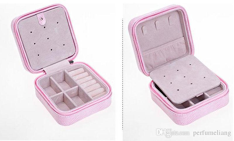Mini Travel Portable Leather Jewelry Box Cosmetic Makeup Organizer Earrings Casket Three-tier Storage Box Best Gift ZA3461