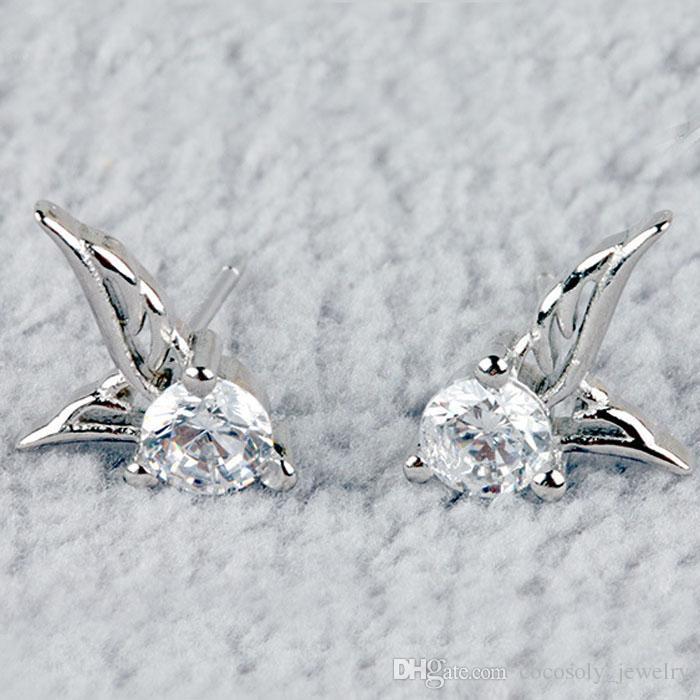 Angel Wings Earring Women Party Stud 925 Sterling Silver Earring Casual Brand Crystal Retro High Quality Hot Sale Earrings