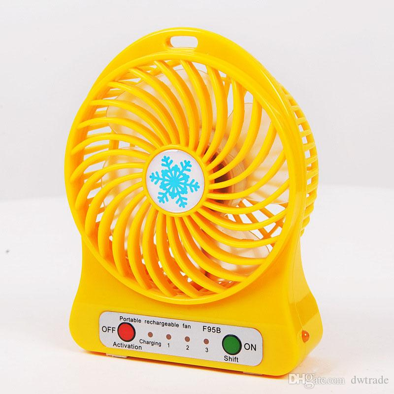 Mini Protable Fan Multifunctional USB Rechargerable Kids Table Fan LED Light 18650 Battery Adjustable 3 Speed Snow cool Multi Color With Box