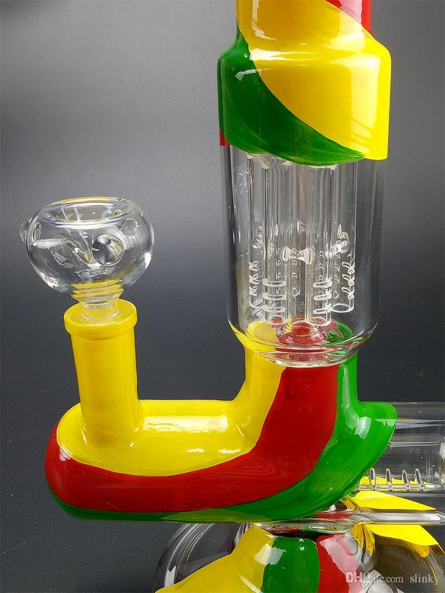 Straight HOSS Glass Bong Perc Bowls Hookahs Joint 18.8mm Thick 7MM Beaker Bongs Stock Qil Rigs Glass Bong Water Pipe