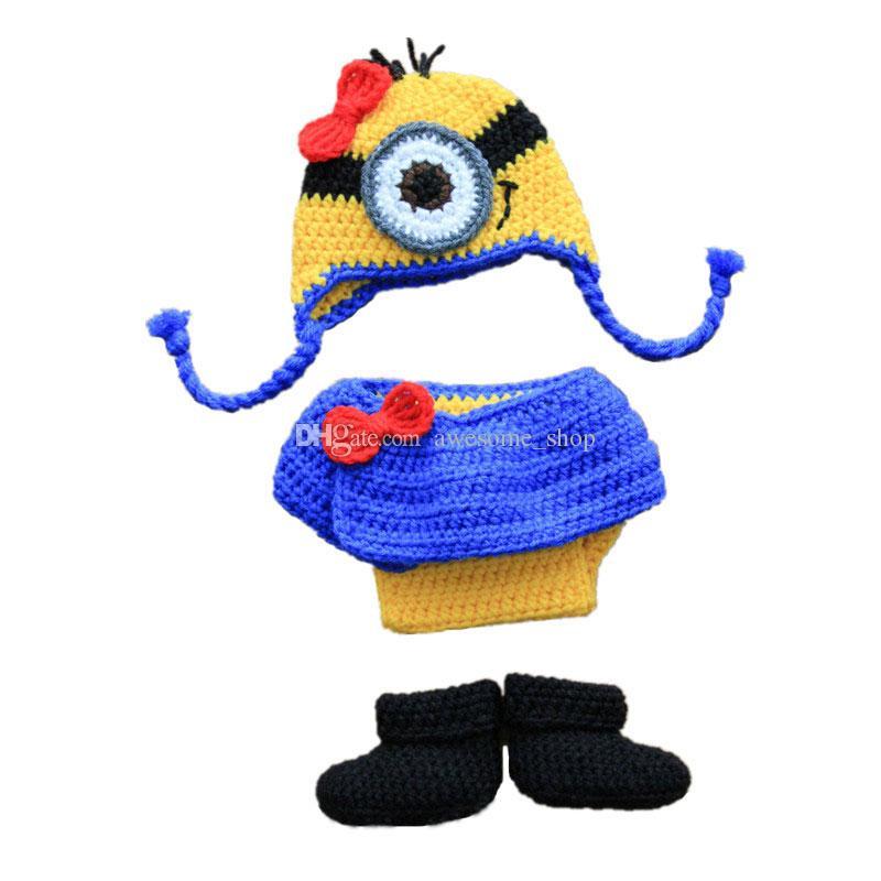2018 Novelty Newborn Knit Minion Costumehandmade Crochet Baby Girl