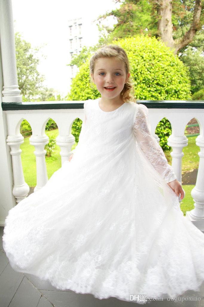 bc36461eae1 2017 White Lace Flower Girls Dresses Long Sheer Sleeves Kids Formal Wear  For Weddings Birthday Party Dresses Little Child Bridesmaid Dress Dress For  Girl ...