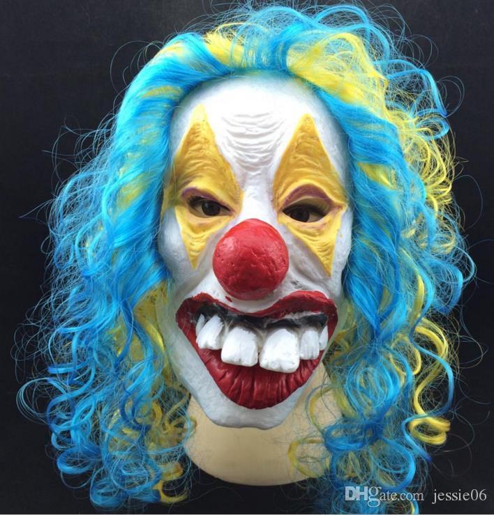 Máscara de Palhaço Assustador Adulto Halloween Assassino Do Mal Vestido Extravagante Horror Jolly Latex Cabelo Máscaras de Rosto Cheio Traje Do Partido Acessório Cosplay