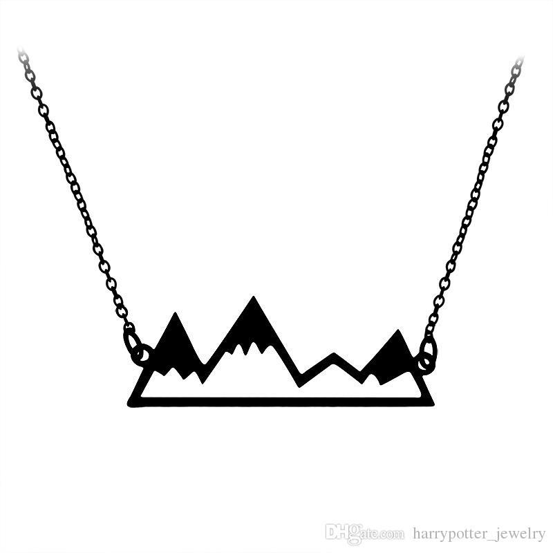Colar Pingente New oco Pico da montanha com corrente de prata de ouro Moda jóias hip hop por Mulheres Homens presente Drop Ship