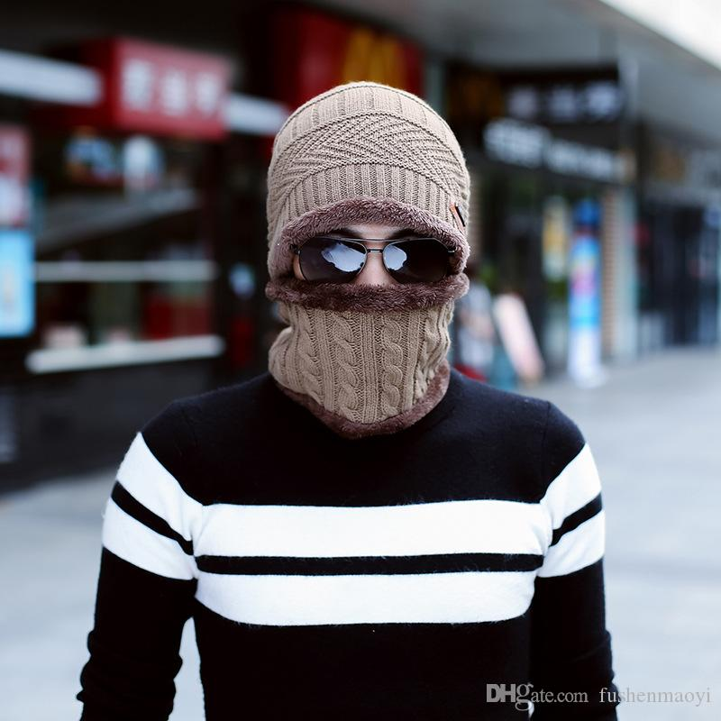 New Winter Knit wool beanies hats + Scarf Down Liner outdoor warm beanies for men