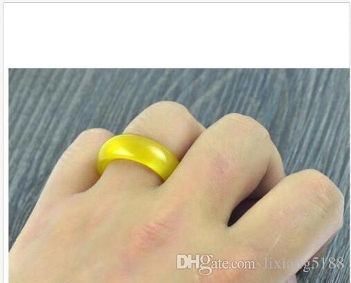 новый горячий продавать натуральный желтый Оникс нефрит ручной резьбой группа кольцо размер US10=20 мм