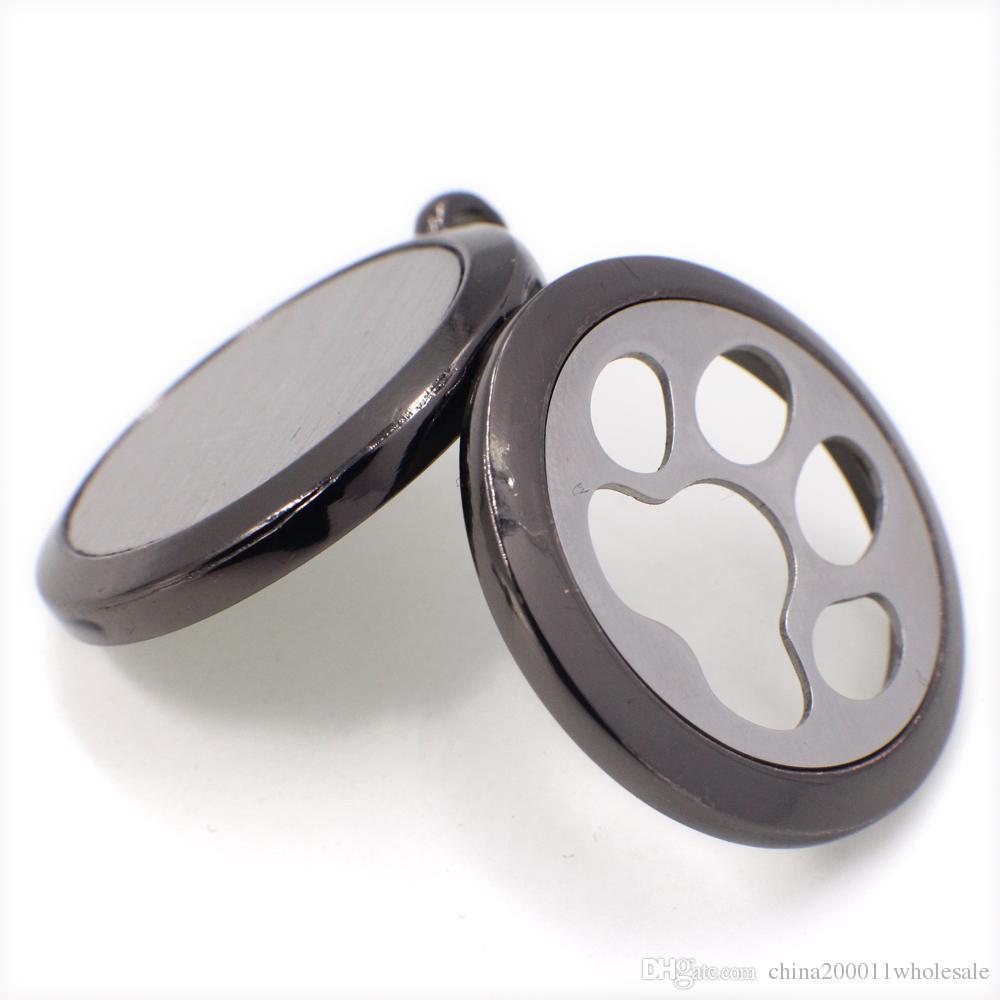 XX768 Köpek Hnad Baskı Parfüm Aromaterapi Uçucu Difüzör Madalyon Alaşım 30mm Hollow Madalyon Ücretsiz Keçe Pedleri Gun Siyah Moda Doğum Günü Hediye