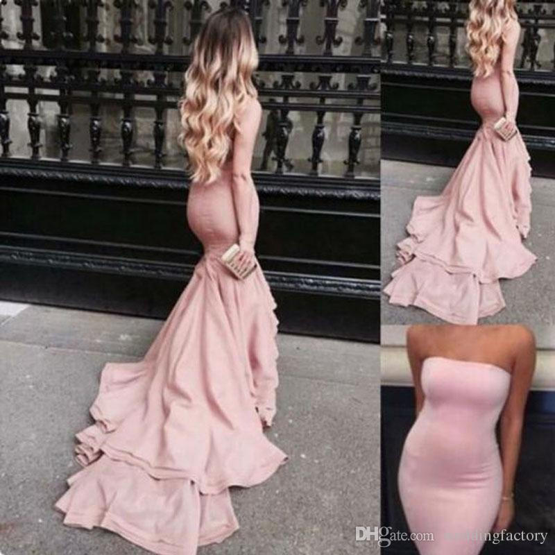 8a2fed09a68b8 Elegant Pink Mermaid Prom Dresses Spandex Fitted Strapless Sleeveless Fit  And Flare Evening Party Gowns With Train Custom Made Short Gowns Silver Prom  Dress ...