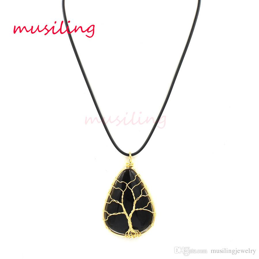 Pendenti in oro con pendenti in ossidiana Gioielli pendenti con pendenti in oro con pietre preziose Wicca Healing Chakra Amuleto Gioielli in pietra naturale uomo