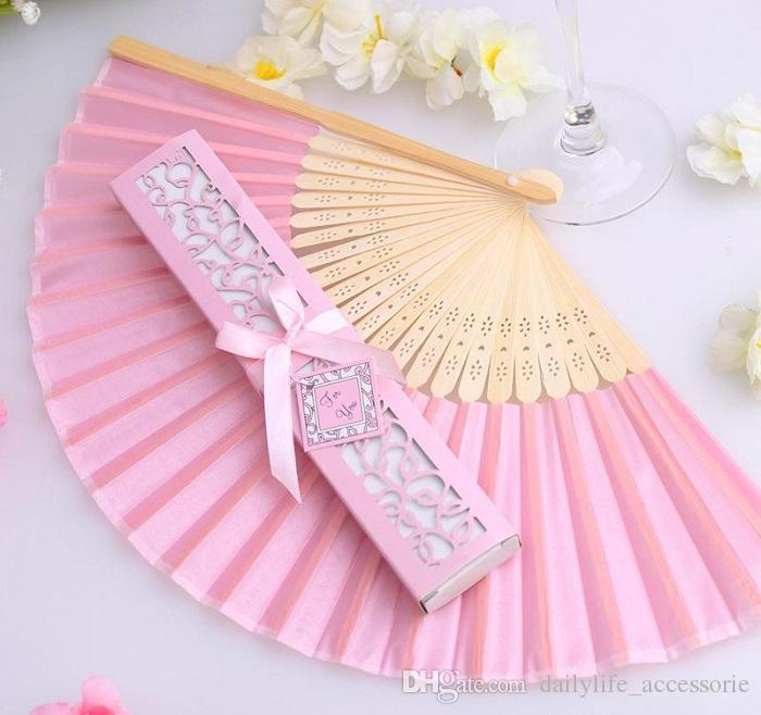 DHL Luxurious Silk Fold hand Fan in Elegant Laser-Cut Gift Box Black; Ivory +Party Favors/wedding Gifts