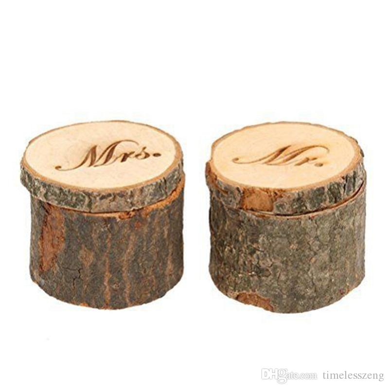 """Country Vintage """"Mr and Mrs"""" Ring Box Wedding Valentines Wooden Ring Round Holder Jewelry Case Gifts Box"""