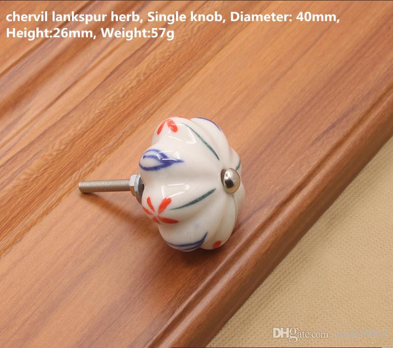 Komik Renkli Orkide bitki baskı Kabak yuvarlak şekil seramik tek kapı topuzu kolu tek kabine çekmece mobilya çekme çekin # 445 / 1.1