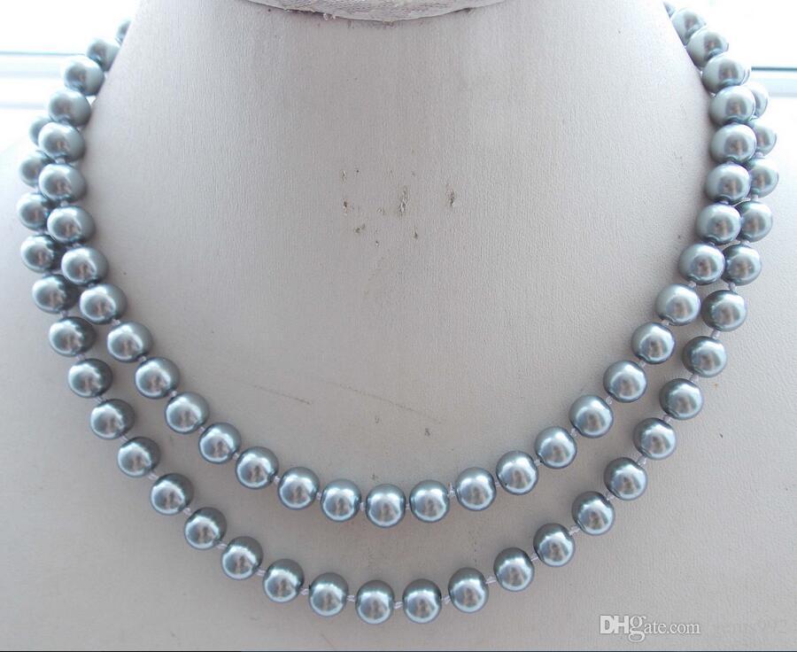 a092ce05767b Compre Noble 10 Mm Srilver Mar Del Sur Shell Perlas Redondas Collar De  Cuentas 54   A  18.51 Del Gems992