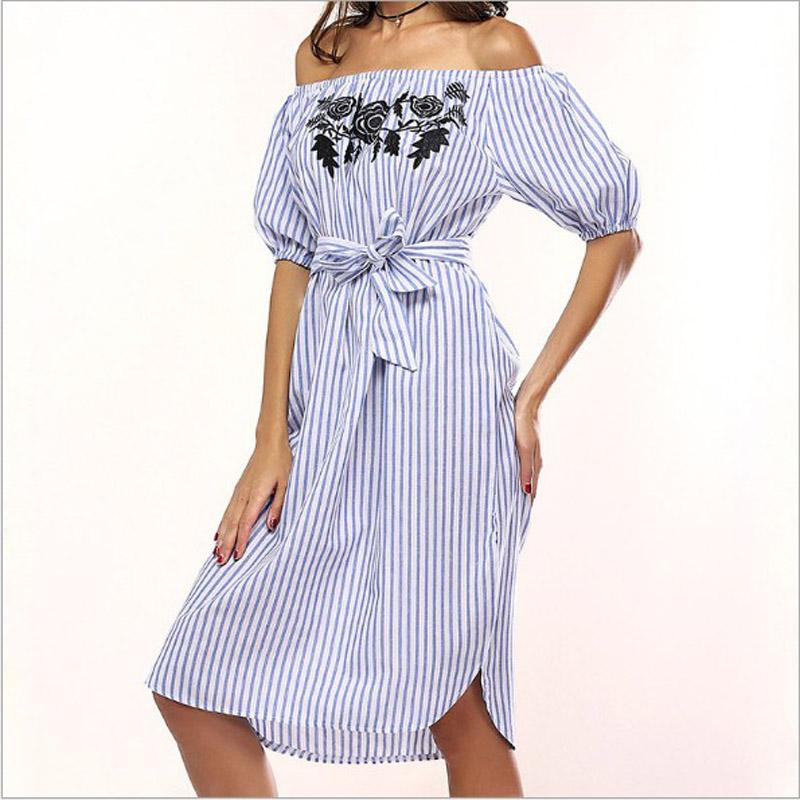 Sexy Striped Women Dress Off Shoulder Short Sleeve Floral Print Elastic Waist Beach Summer Dress Elegant Slash Neck Shirt Dresses