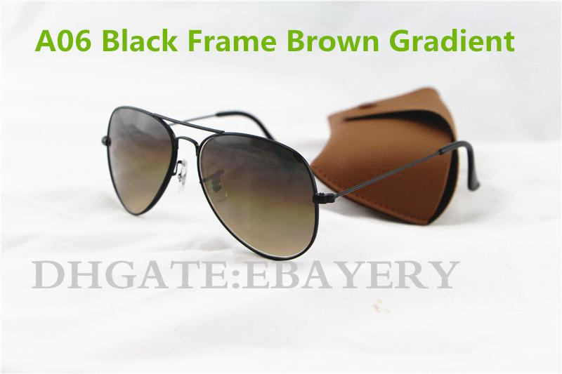 Hot Sale Men's Women's Pilot Gradient UV400 Sunglasses Designer Sun Glasses Gold Brown Blue Grey 62mm Glass Lenses Brown Case Box