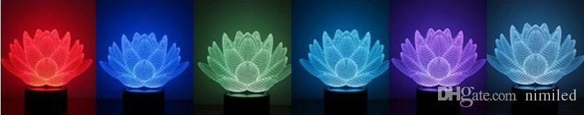 i cambiati Lotus Flower Table Lamp effetto 3D LED luce luci natalizie la decorazione di bambini Compleanno Decorazioni di nozze
