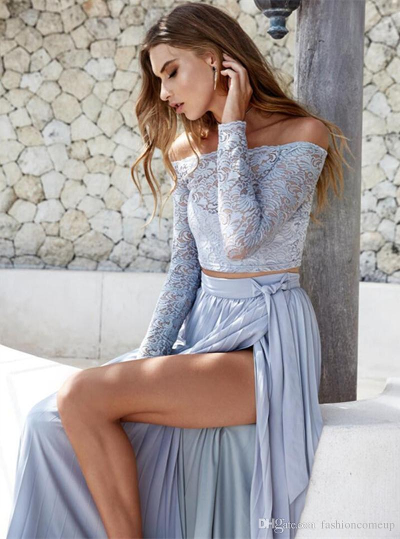 2018 Two Piece Women Sexy Dresses Off Shoulder Long