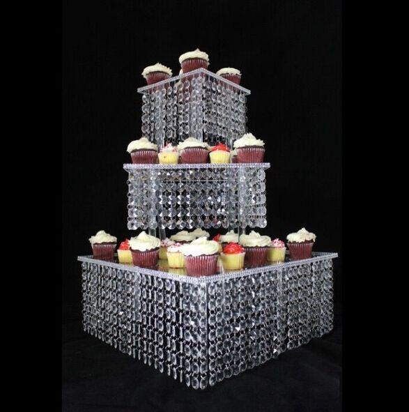 3 Tier Crystal Cake Stand Square Acrylic Cupcake Stand Christmas Wedding  Anniversary Birthday Supply Craft Party Display Tools Cupcake Wedding Cake  Cupcakes ...