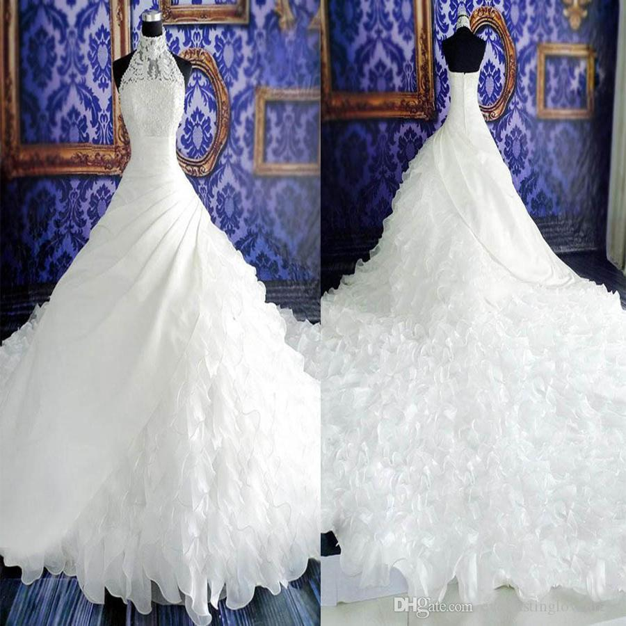 Dignified Halter Neck Ball Gown Watteau Train Tiered Ruffled Organza ...