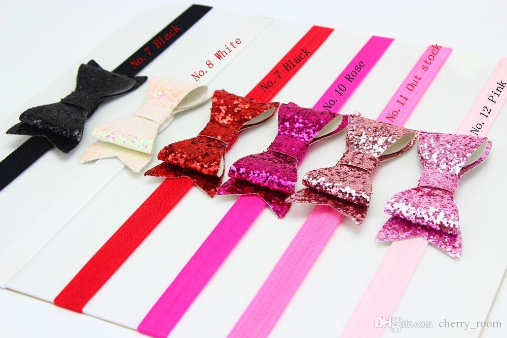 2017 Sequin Bowknot Headbands For girls Sweet Kids Hair Bows Sequins Bow Children Hair Bands Accessories Glitters Girl Hair Band A6263