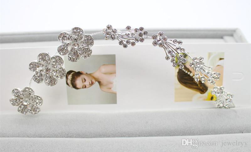 Women Wedding Bridal Hair Jewelry Crystal Pearl Flower Bowknot Hairband Rhinestone Hair Bands Headband Crown for Bride